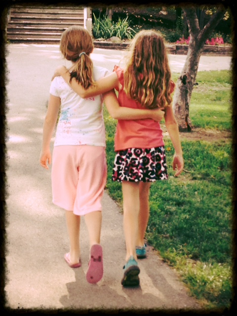 Sarah and Aubryn walking
